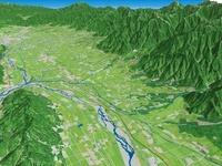 安曇野市北部より松本盆地を見下ろす
