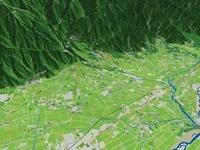 松本市上空から安曇野市へ向けて望む扇状地