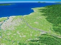 富山湾へ向けて常願寺川と扇状地を望む
