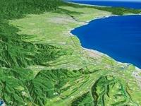 黒部市上空より富山平野と富山湾を望む