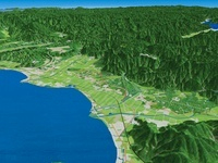 琵琶湖西岸から望む百瀬川扇状地