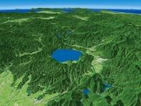 田沢湖南部上空から青森へ向けて