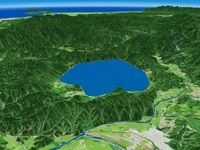 田沢湖東部上空から秋田へ向けて