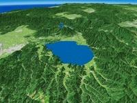 猪苗代湖南部上空から山形盆地を向けて