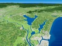 利根川河口部上空から霞ヶ浦と関東平野を望む