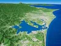 浜名湖西部上空から浜名湖と天竜川を望む