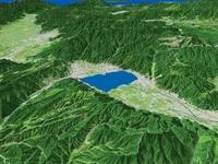 諏訪湖南部上空より諏訪湖一帯を望む
