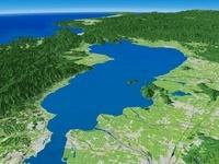 琵琶湖西部上空から福井平野に向けて望む