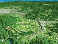 沼田市を望む片品川の河岸段丘 02614000181| 写真素材・ストックフォト・画像・イラスト素材|アマナイメージズ