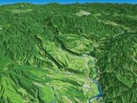 魚沼丘陵の河岸段丘 02614000183| 写真素材・ストックフォト・画像・イラスト素材|アマナイメージズ