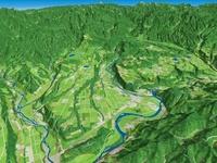魚沼丘陵と信濃川と河岸段丘 02614000184| 写真素材・ストックフォト・画像・イラスト素材|アマナイメージズ