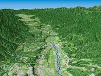 南側から見た天竜川による河岸段丘 02614000185| 写真素材・ストックフォト・画像・イラスト素材|アマナイメージズ