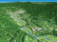 北東部から見た天竜川による河岸段丘 02614000186| 写真素材・ストックフォト・画像・イラスト素材|アマナイメージズ