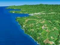 北側から見た三陸海岸北部の海岸段丘と久慈港 02614000191| 写真素材・ストックフォト・画像・イラスト素材|アマナイメージズ