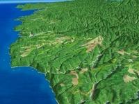 北側から見た三陸海岸中部の海岸段丘 02614000192| 写真素材・ストックフォト・画像・イラスト素材|アマナイメージズ