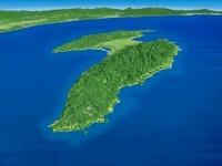 佐渡島北側上空からみた佐渡島の海岸段丘 02614000193| 写真素材・ストックフォト・画像・イラスト素材|アマナイメージズ