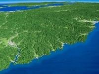日本海上空から南へ望む山陰海岸と中国山地