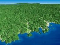 日本海上空から南へ望む中国山地