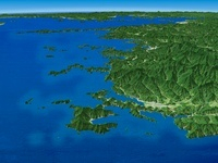 四国西側から宇和海を瀬戸内海へ向けて望む