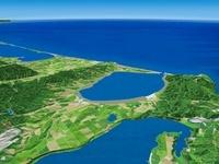 網走湖上空から能取湖を望む