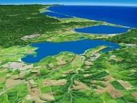 網走湖と能取湖とサロマ湖を望む