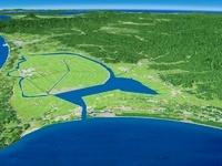 八郎潟と白神山地を望む
