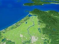 津軽平野と津軽山地と十三湖