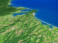 濤沸湖周辺の湖をオホーツク海に向けて望む 02614000236| 写真素材・ストックフォト・画像・イラスト素材|アマナイメージズ