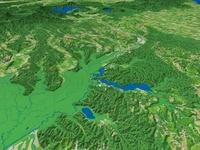 シラルトロ湖と釧路川と周辺地形