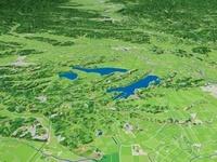 伊豆沼と内沼と長沼を南から望む 02614000247| 写真素材・ストックフォト・画像・イラスト素材|アマナイメージズ