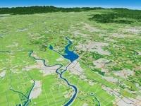 龍ケ崎市上空から牛久沼と周辺地形を望む
