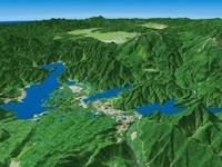 小野川湖と周辺の桧原湖と秋元湖