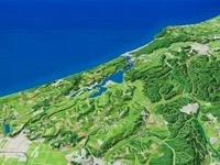あわら市上空から北潟湖を日本海へ望む