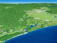 日本海側から北潟湖を福井市へ向けて望む 02614000321| 写真素材・ストックフォト・画像・イラスト素材|アマナイメージズ