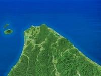 宗谷岬を名寄盆地上空より望む
