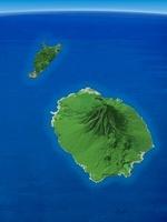 利尻島を南方上空より望む