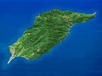 奥尻島を南東上空より望む