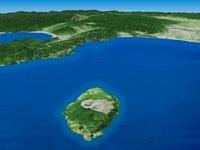 伊豆大島を南東上空より望む