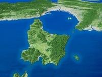 淡路島を南西上空より望む