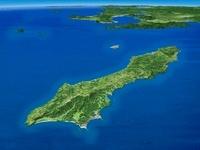 種子島から九州南部にかけてを南東上空より望む 02614000357| 写真素材・ストックフォト・画像・イラスト素材|アマナイメージズ