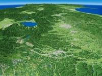 白河市南部から望む阿武隈川上流と郡山盆地