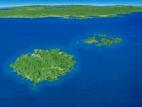 隠岐諸島から中国地方にかけてを北方上空より望む