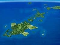 五島列島を南西上空より望む