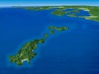 甑島列島から九州南西部にかけてを南西上空より望む