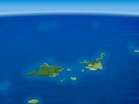 八重山列島を南方上空より望む