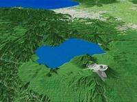 苫小牧上空から望む支笏湖と札幌市