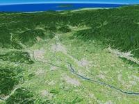 関東平野北部上空から利根川上流と越後山脈を望む