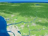 新潟市西側上空より阿賀野市へ向けて新潟平野を望む