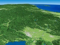 猪苗代湖上空から阿賀野川上流の阿賀川を望む
