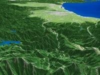 飛騨山脈上空から富山平野へ向けて望む常願寺川